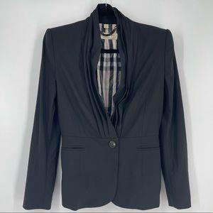 Burberry Black Pleated One Button Blazer